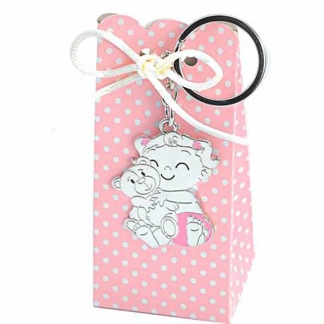 Llavero bebé niña con osito y pañal rosa, con cajita rosa con topos y peladillas