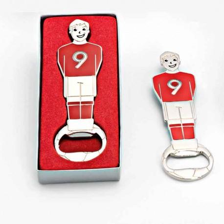 Abrebotellas con forma de jugador de futbolín en caja regalo