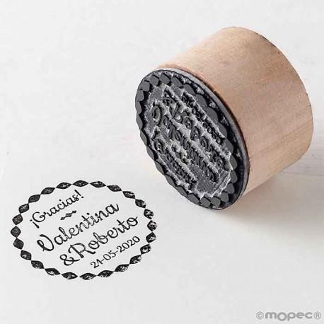 Sello personalizado redondo de madera, gracias