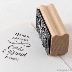 Sello personalizado rectangular 3 x 5,5 cm., modelo vertical