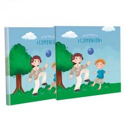 Libro Comunión con estuche, niños con balón