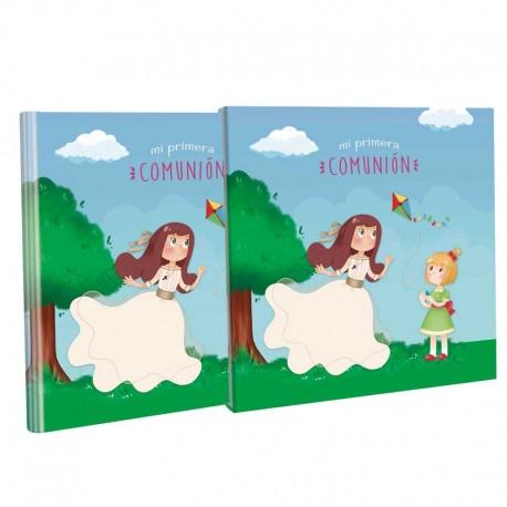Libro de firmas para Comunión con estuche, niñas jugando con cometa