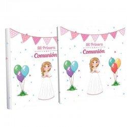 Libro Primera Comunión con estuche, niña sonrosada y globos