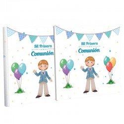 Libro Primera Comunión con estuche, niño saludando y globos