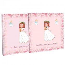 Libro Comunión con estuche, niña con Cáliz y corona de flores
