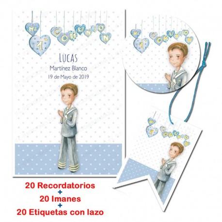 Pack 20 recordatorios, 20 imanes, 20 tarjetas para comunión, Niño marinero rezando