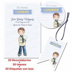 Pack 20 recordatorios Comunión todo en uno, Niño con Cáliz