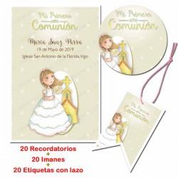 Pack 20 recordatorios comunión todo en uno, Niña con iglesia de fondo