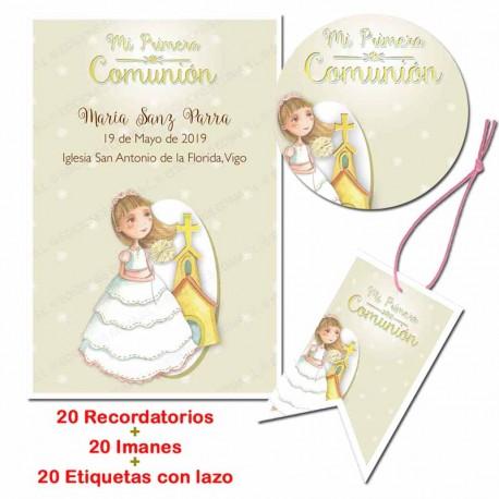 Pack 20 imanes, 20 etiquetas, 20 recordatorios para comunión. Niña con iglesia de fondo
