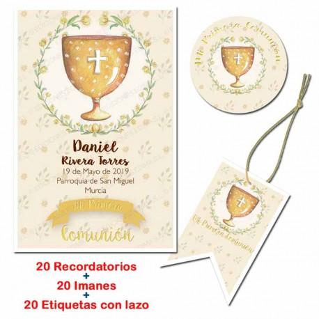 Pack 20 recordatorios, 20 imanes y 20 tarjetas para comunión. Cáliz dorado