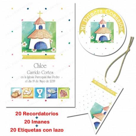 Pack 20 recordatorios, 20 imanes y 20 etiquetas para comunión. Iglesia y simbolos comunión
