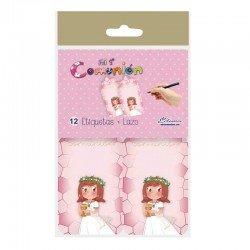 Pack 12 Etiquetas Comunión niña sonrosada con Cáliz pequeño