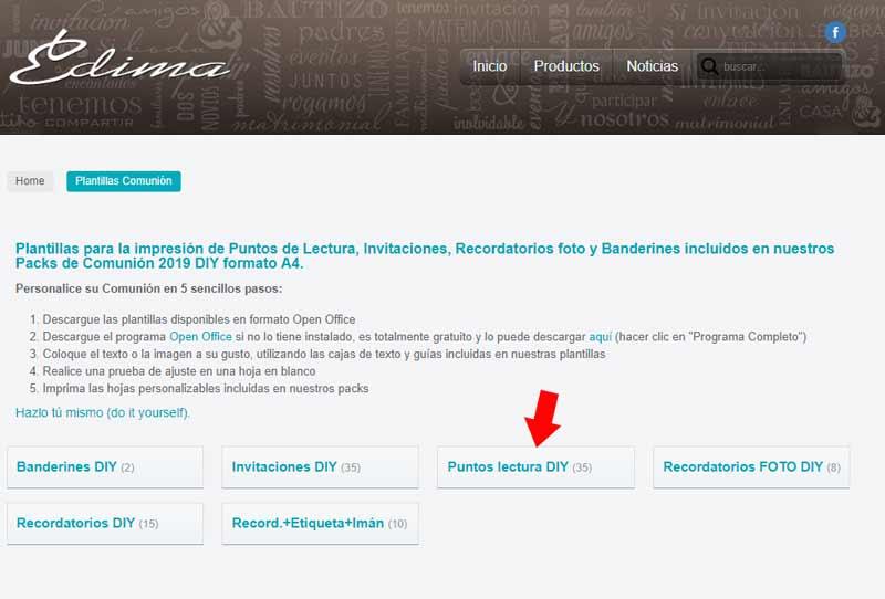 Enlace para descargar la plantilla: http://www.edicionesedima.com/comunion