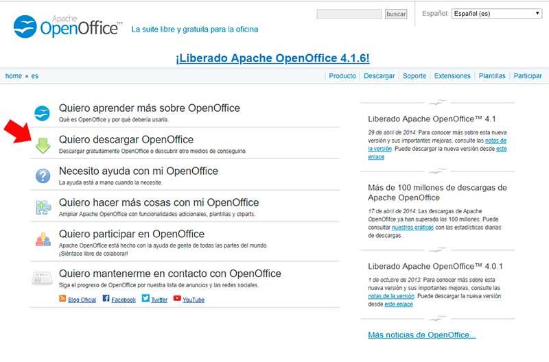 Página oficial de la suite de OpenOffice
