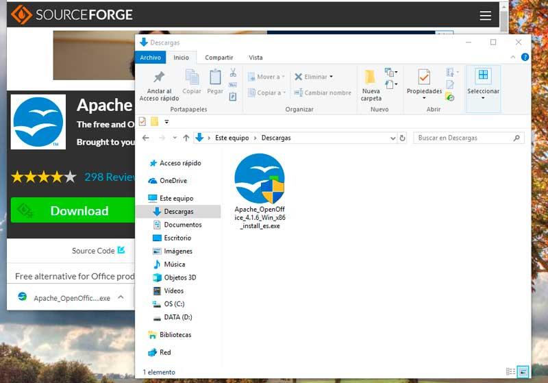 Icono de instalación del OpenOffice en la carpeta de descarga