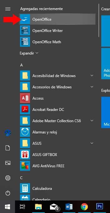 Menú de Windows con el nuevo programa instalado