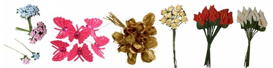 Complementos para los regalos:Florecitas y Pic Florecitas y Pic para decorar los detalles para boda, comunión y bautizo. Flores, pics y ramilletes para decorar y presentar los regalos de bodas, las flores más originales para presentar regalos y...