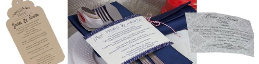 Minutas de boda originales Acompaña tus invitaciones con información sobre el menú que los invitados disfrutarán en vuestra boda... Elije el formato que más te guste...