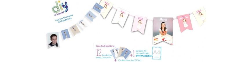 Banderines para la decoración de la comunión Bolsa con 12 banderines con imagen niña o niño, decorados a todo color por las dos caras, niñas banderín A4, microperforado para personalizarlo en casa, más cordón en rosa o azul para su colocación.