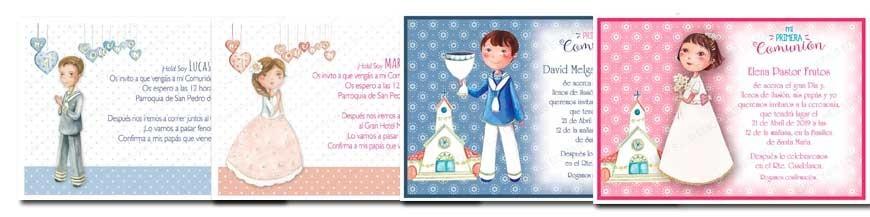 Invitaciones para la primera comunión. Todas las invitaciones de 1ª Comunión llevan incluido el sobre en el precio, azul para niño y rosa para niña. Puede elegir con el mismo diseño que las invitaciones de Comunión, los recordatorios, puntos de...
