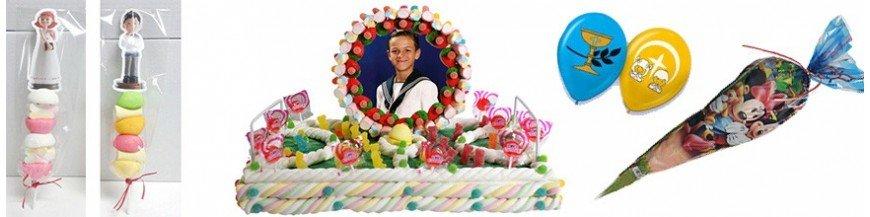 Tartas, conos, chuches y globos para Primera Comunión Originales y sabrosas tartas de nubes y golosinas. De diferentes formas y tamaños, es la forma perfecta de celebrar la Primera Comunión de la maneramás dulce. Conos rellenos de chuches para...
