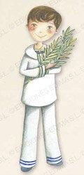 Niño comunión con rama de olivo