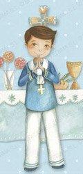 Niño comunión en el altar