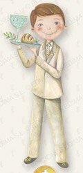 Niño con traje y bandeja