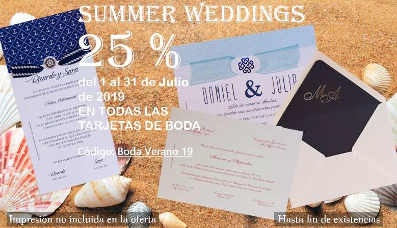 Oferta tarjetas de boda, verano 2019