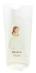 Bolsa de papel para comunión, niña con corona de flores
