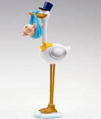 Figura para Tarta de Bautizo Cigüeña con Gorro azul