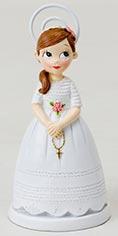 figura portafotos niña comunión con rosario