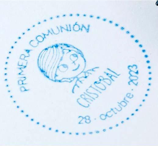 Sello de caucho redondo para comunión niño